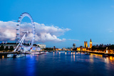 London Eye, Westminster Bridge and Big Ben in the Evening, London, United Kingdom Posters by  anshar