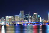 Miami City Skyline Panorama at Dusk with Urban Skyscrapers and Bridge over Sea with Reflection Prints by Songquan Deng