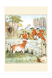 Huntsmen Looked over a Stone Wall at a Cow Poster by Randolph Caldecott