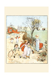 Children Jumped Ropes and Played with Hoops Along a Road Prints by Randolph Caldecott