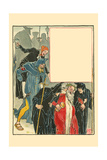 At Day's End, Vigils Walked Christmas Home, and the Shortest Day Left in a Black Fog Poster by Walter Crane