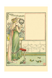 Beautiful May, Sweetness in Speech Proposed Health to their Host Print by Walter Crane
