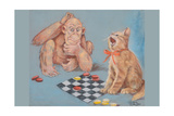 Monkey and Cat Playing Checkers Poster by Peter Driben