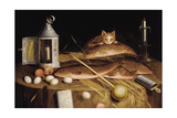 Kitchen Still Life with Fish and Cat Prints by Sebastian Stoskopff