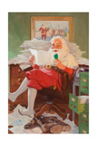 Santa Reading Christmas Letters Posters by John Newton Howitt