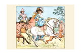 Young Girl Rides a White Horse Followed by a Suitor Prints by Randolph Caldecott