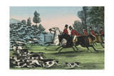 Horsemen with Hundreds of Hunting Dogs Poster by Charles Butler
