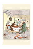 The Blackbirds Baked in a Pie Began Singing When the Pie Was Opened Print by Randolph Caldecott