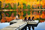 Wooden Dock with Chairs on Calm Fall Lake Prints by  elenathewise
