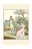 Suitor Leads a Young Girl from a Bench in a Smiling a Loving Face Print by Randolph Caldecott