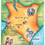 Map of Kenya Photographic Print by Jennifer Thermes