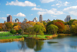 New York City Central Park in Autumn with Manhattan Skyscrapers and Colorful Trees over Lake with R Photographic Print by Songquan Deng