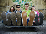 Urban Stylish Trendy Young Teenage People with Legs on Skate Poster by  zurijeta