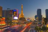 Usa, Nevada, Las Vegas, the Strip, Paris Las Vegas and Bally's Hotel and Casinos. Photographic Print by Alan Copson