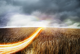 Light Trails Moving across Wheat Field. Photographic Print by Robert Decelis Ltd