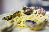 Spaghetti with Clams at the Restaurant Certosino, Venice, Venezia Photographic Print by Aldo Pavan