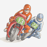 Illustration of Two Men Racing Motorbikes Photographic Print by Dorling Kindersley