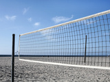 Empty Volleyball Field on the Beach Reproduction photographique par Frank Rothe