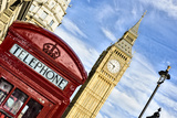British Icons the Red Phone Box and Big Ben Photographic Print by Berthold Trenkel