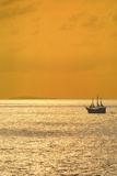 Sunset Cruise on a 'Pirate Ship' on Banderas Bay near Puerto Vallarta, Jalisco, Mexico Photographic Print by Mark D Callanan