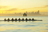 Team Rowing Boat in Bay Photographic Print by Pete Saloutos