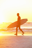 Surfer on Beach at Sunset Photographic Print by Eternity in an Instant