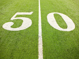 50 Yard Line on American Football Field Photographic Print by William Andrew