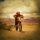Man Riding Motocross Bike Photographic Print by Anne-Marie Weber