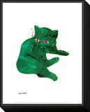 Chat vert, vers 1956 Reproduction montée et encadrée par Andy Warhol