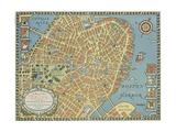Souvenir Map of Boston Giclee Print by David Pollack