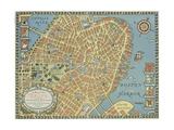 Souvenir Map of Boston Giclee Print by David Pollack