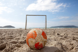 Football on Sandy Beach Photographic Print by paul mansfield photography