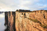 Sheer Cliffs of Mount Roraima - Landscape with Clouds Background Print by  zanskar