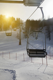 Ski Chairlift over Snowy Landscape Photographic Print by Walter Zerla
