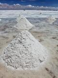 Piles of Salt on the Surface of the Salar De Uyuni Salt Lake, Bolivia Print by  zanskar