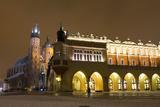 Market Square at Night, Poland, Krakow. Photographic Print by  dziewul