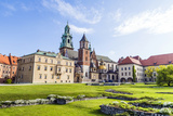 Wawel Castle on Sunny Day with Blue Sky and White Clouds Prints by Jorg Hackemann
