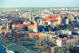 Aerial View of Royal Wawel Castle with Park in Krakow, Poland (Cross Process Style) Photographic Print by De Visu