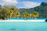 Panorama of Perfect Beach with Coconut Palms in French Polynesia Photographic Print by BlueOrange Studio