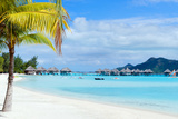 Stunning Beach and Beautiful View of Otemanu Mountain on Bora Bora Island Photographic Print by BlueOrange Studio