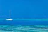 White Yacht at Stunning Tropical Lagoon of Bora Bora Photographic Print by BlueOrange Studio