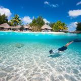 Man Swimming in a Tropical Lagoon in Front of Exotic Island Reprodukcja zdjęcia autor BlueOrange Studio