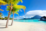 Beautiful Beach with a View of Otemanu Mountain on Bora Bora Island Photographic Print by BlueOrange Studio