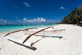 Wooden Boat on Tropical Beach with White Sand Photographic Print by  pashapixel
