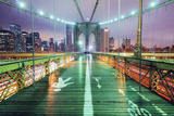 Brooklyn Bridge Walkway at Night Photographic Print by Andrew C Mace