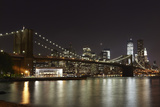 Usa, New York, View of Brooklyn Bridge at Night Photographic Print by  Westend61