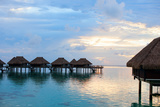 Over Water Villas at Sunset in French Polynesia Photographic Print by BlueOrange Studio