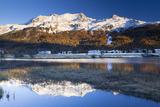 Piz Corvatsch in Bernina Range with Sils Im Engadin Reflecting in Lake Sils, Engadin, Switzerland Photographic Print by F. Lukasseck