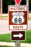 Road Sign along Historic US Route 66, Gardner, Illinois, USA Photographic Print by Bruce Leighty