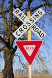 Railroad Crossing, Sycamore, Illinois, Usa, December 2010 Photographic Print by Bruce Leighty